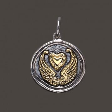 Waxing Poetic Sterling Silver & Brass  Wing & Prayer - Wings & Heart Charm / Pendant
