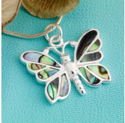 Sterling Silver Paua Shell Small Butterfly Pendant