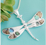 Sterling Silver Paua Shell Dragonfly Pendant