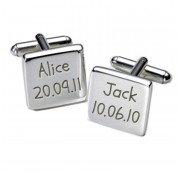 Square Names & Birthday Cufflinks Personalised Cufflinks