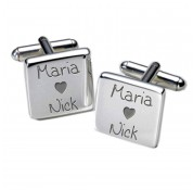 Square Loving Couples Personalised Cufflinks