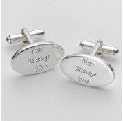 Bespoke Oval Personalised Cufflinks - Add Your Own Message