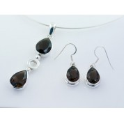 Sterling Silver Smoky Quartz Faceted Drops Pendant & Earring Set