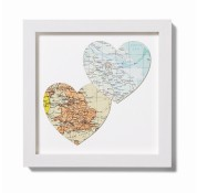 Personalised Duo Vintage Map Hearts