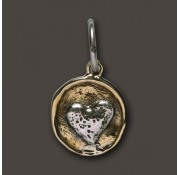 Waxing Poetic Sterling Silver & Brass Heart Camp Charm / Pendant