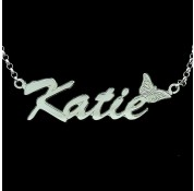 Personalised Sterling Silver 'Carrie' Style Butterfly Name Necklace