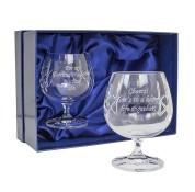 Personalised Pair of Engraved Crystal Brandy Glasses