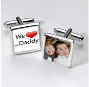 Square We Love Our Daddy Photo Cufflinks