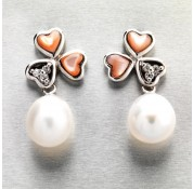 Sterling Silver White Fresh Water Pearl Earrings With Pearl Hearts and White CZ stones