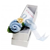 Flower Bud Birth Certificate Keepsake - Blue