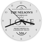 Personalised Glass 'Full Of Love' Kitchen Clock
