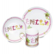 Animal Name Ceramic Breakfast Set Pink