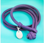 Double Wrap Nappa Leather Cord Bracelet With Personalised Sterling Silver Charm - Purple