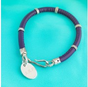 Nappa Leather Cord & Sterling Silver Bracelet With Personalised Charm - Purple