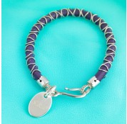 Nappa Leather Cord & Sterling Silver Wire Bracelet - Purple With Personalised Charm