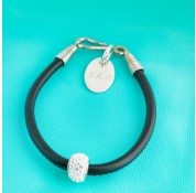Nappa Leather Cord Bracelet With Swarovski Crystal Rondelle - Black