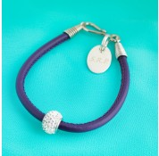 Nappa Leather Cord Bracelet With Swarovski Crystal Rondelle - Purple