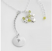 St Silver Necklace With Personalised Stamped Initial Charms