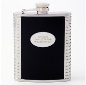 Personalised Steel And Black Leather Hipflask