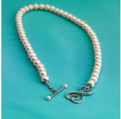 Sterling Silver 16'' Freshwater Pearl Necklace With Swarovski Crystal Toggle