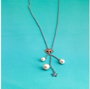 16''  Fresh Water Pearl Necklace With Sterling Silver Enamel Daisy With Tassles