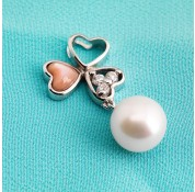Sterling Silver White Fresh Water Pearl Hearts Pendant With Pink Cat's Eye and White CZ stones