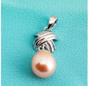 Sterling Silver Peach Fresh Water Pearl Pendant