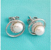 Sterling Silver Fresh Water Pearl Earrings With White CZ Stones