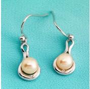 Sterling Silver Cream Fresh Water Pearl Earrings With Swarovski Crystal