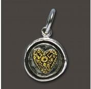 Waxing Poetic Sterling Silver & Brass Petite Wing & Prayer Heart Charm / Pendant