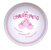 "Personalised 8"" bootie Christening Plate - Pink"
