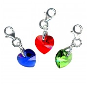 Sterling Silver & Swarovski Crystal Birthstone Heart Charms