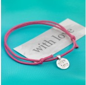 Sterling Silver 'With Love' Message Cord Bracelet by Kutuu