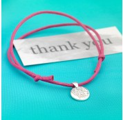Sterling Silver 'Thank You' Message Cord Bracelet by Kutuu