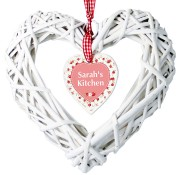Personalised Floral Wicker Heart Decoration