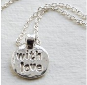 Sterling Silver 'With Love' Message Charm Necklace by Kutuu