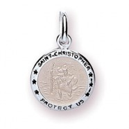 Sterling Silver St. Christopher Small Medal Pendant 14mm