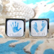 Sonia Spencer Personalised Hands and Feet Print Cufflinks - Blue