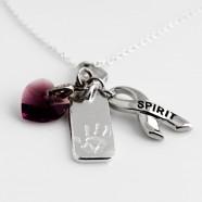 Sterling Silver Birthstone Necklace With Fine Silver Handprint / Footprint  Pendant & Spirit Charm