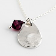 Sterling Silver Necklace With Fine Silver Fingerprint  Pendant & Birthstone Charm