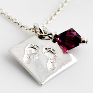 Sterling Silver Necklace With Fine Silver Handprints / Footprints  Pendant & Birthstone Charm