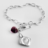 Sterling Silver Bracelet With Fine Silver Fingerprint  Charm & Birthstone Heart Charm
