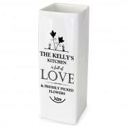 Personalised Ceramic 'Full Of Love' Square Vase