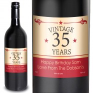 Red Vintage Numbers  Personalised Red Wine