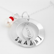 Sterling Silver Necklace With Personalised Name Pendant, Zodiac & Pearl Charms