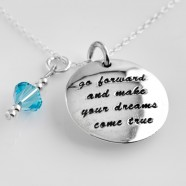 Sterling Silver Message Necklace and Optional Swarovski Birthstone Charm