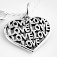 Sterling Silver 'Love' Heart Necklace and Optional Pearl Birthstone Charm