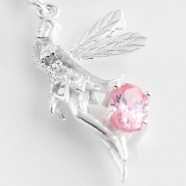 Sterling Silver Fairy Pendant/Charm and Optional Swarovski Birthstone Charm