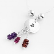 Sterling Silver Necklace With Personalised Initial Pendant & Cluster Charms