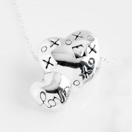 Sterling Silver 'XoX Love' Double Heart Necklace With Optional Pearl Charm